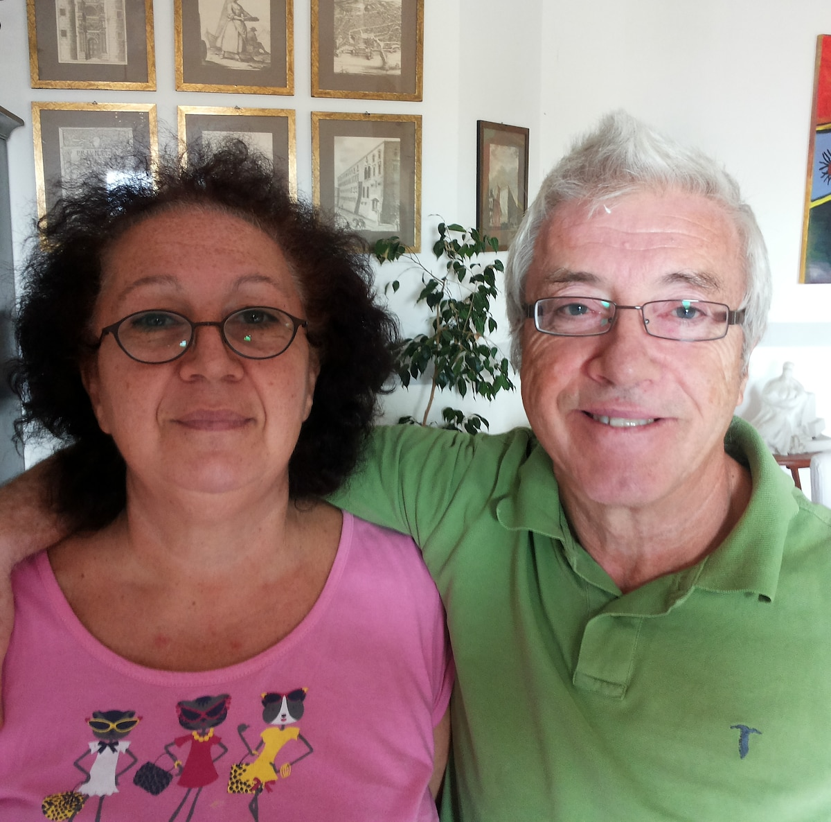 Middle-age Italian couple with a passion for good