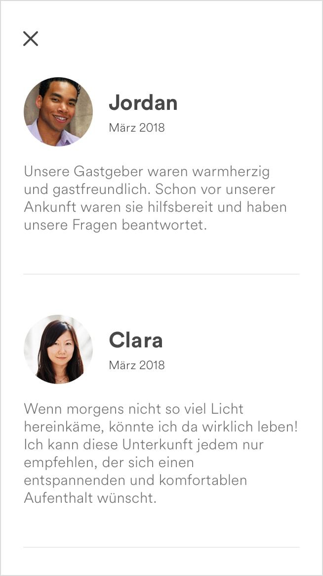 Screenshot der Bewertungen