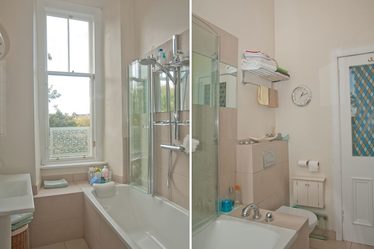 Two views of the bathroom/shower room