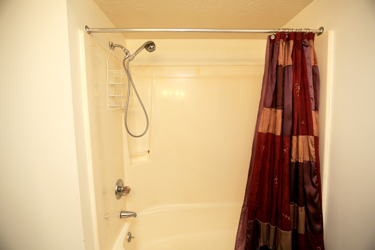 Clean shower with good water pressure.