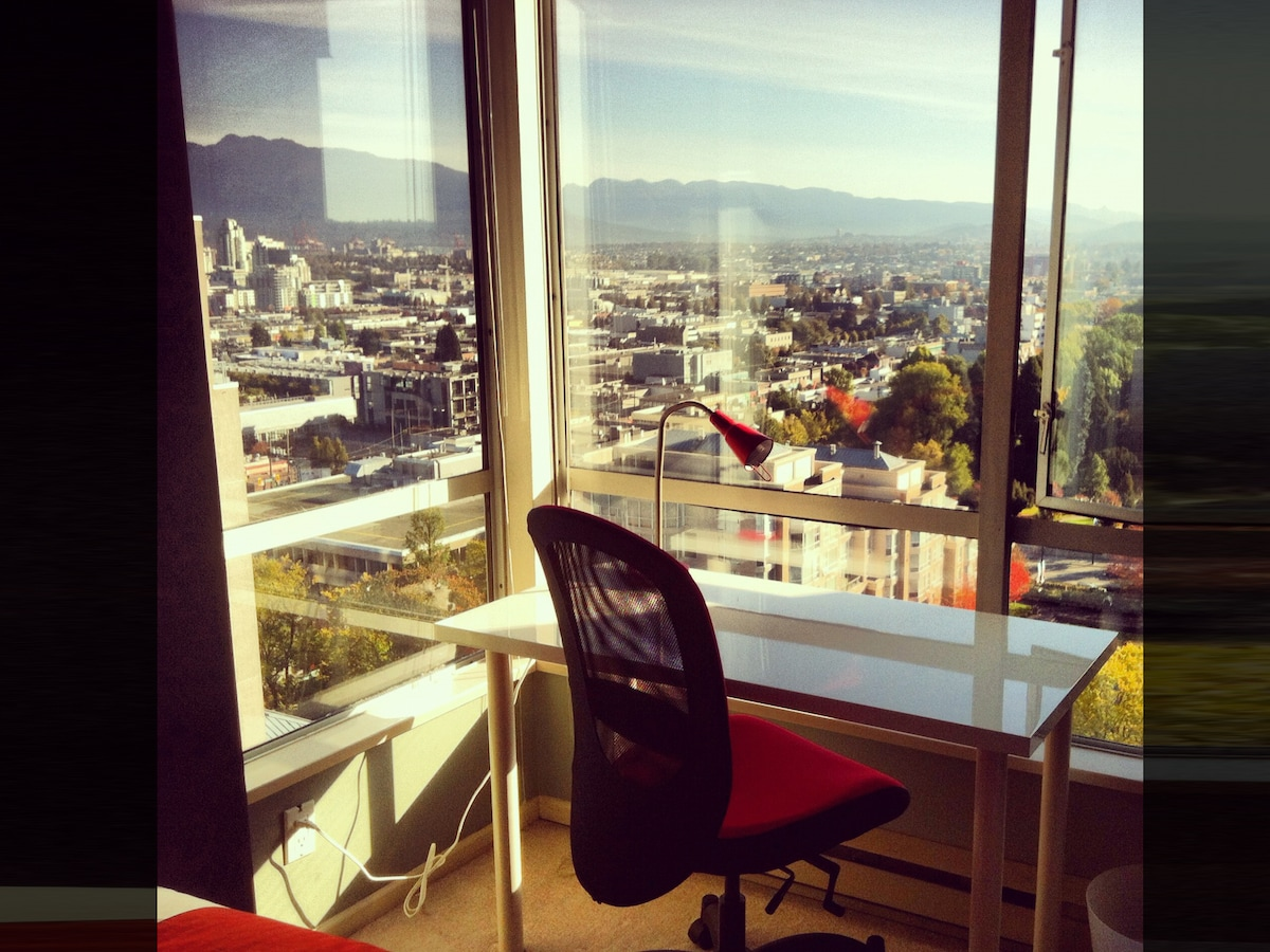 Your bedroom office has a spectacular view.