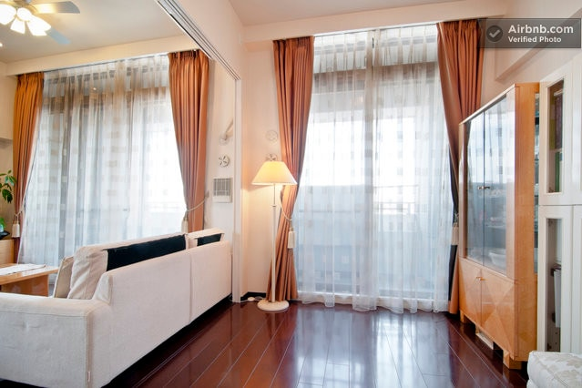 Your room is connected to the living room and separated with sliding doors.