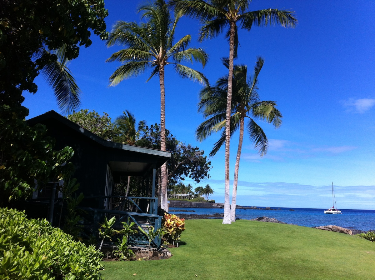 The beautiful grounds of the Mauna Lani a peaceful stroll from the beach club.