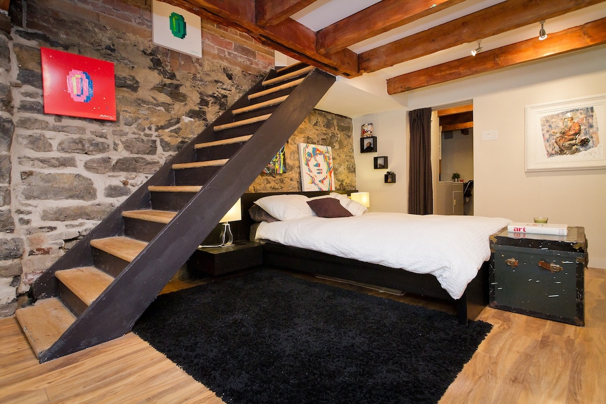 Loft style master bedroom