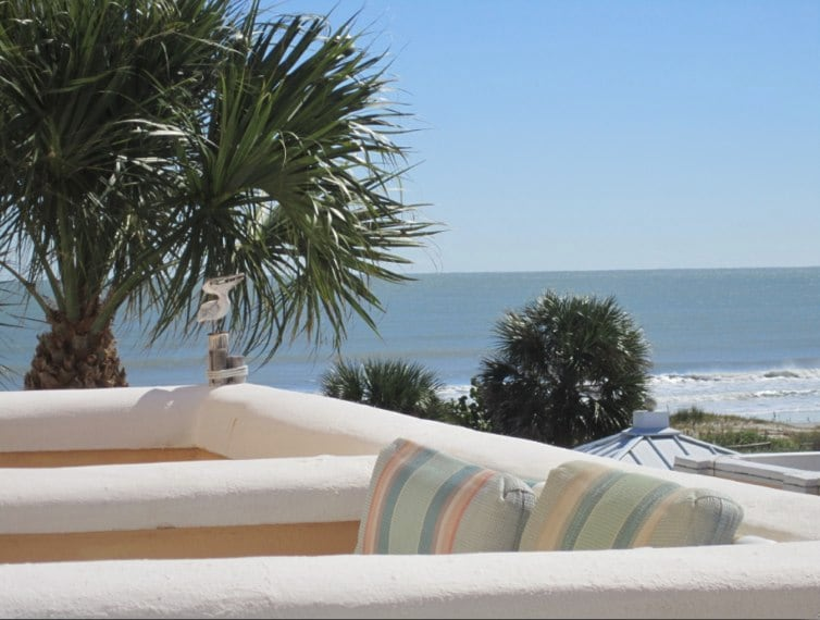 Enjoy your morning coffee on the patio overlooking the ocean.