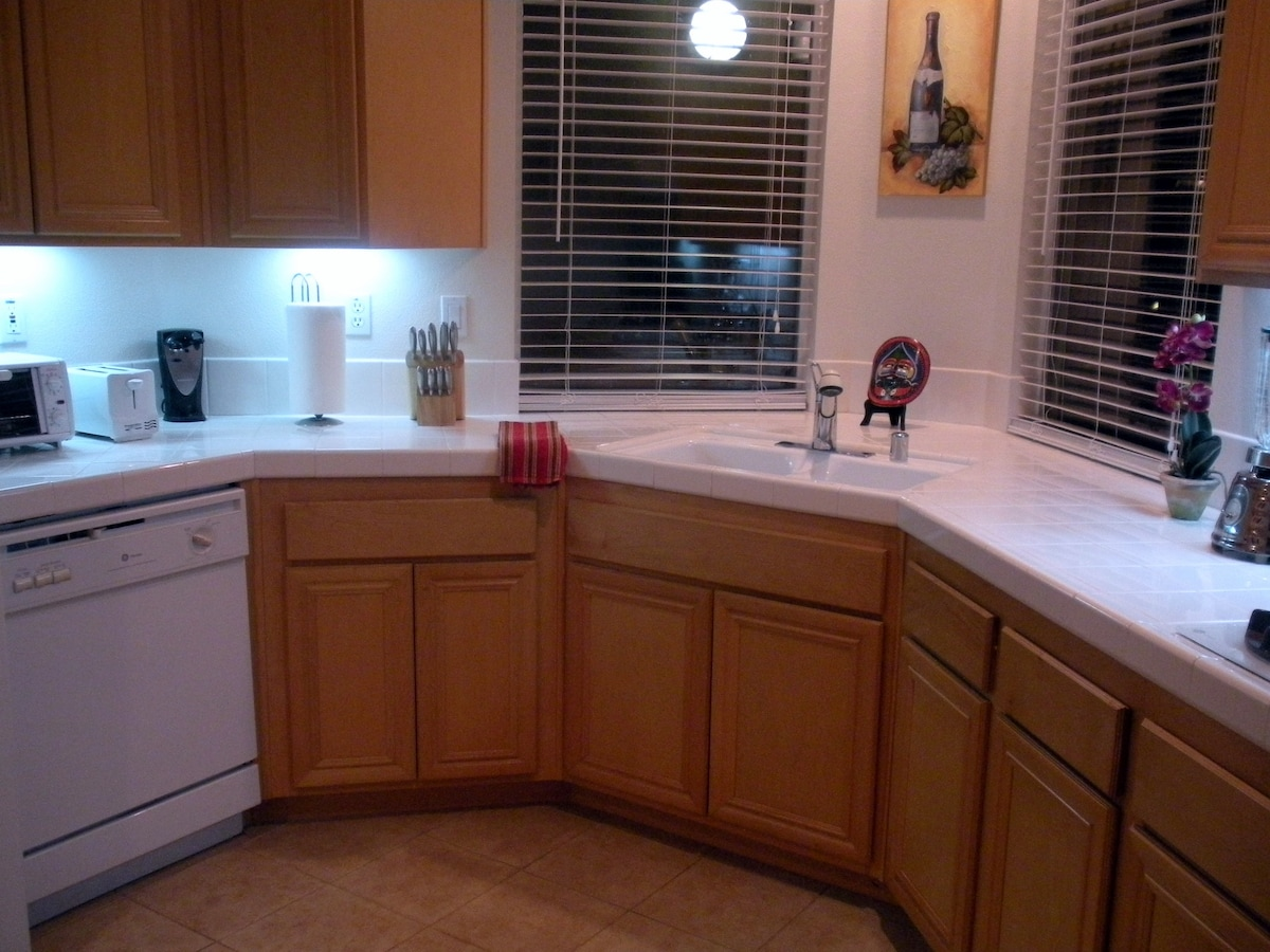 Close up of Kitchen, new toaster in now, toaster oven & blender