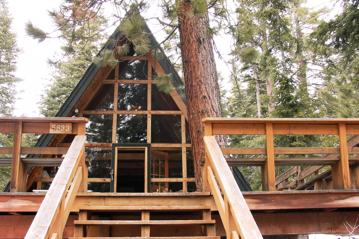 """A"" Frame Knotty Pine Cabin w/ New Roof, Windows and Parking Area"