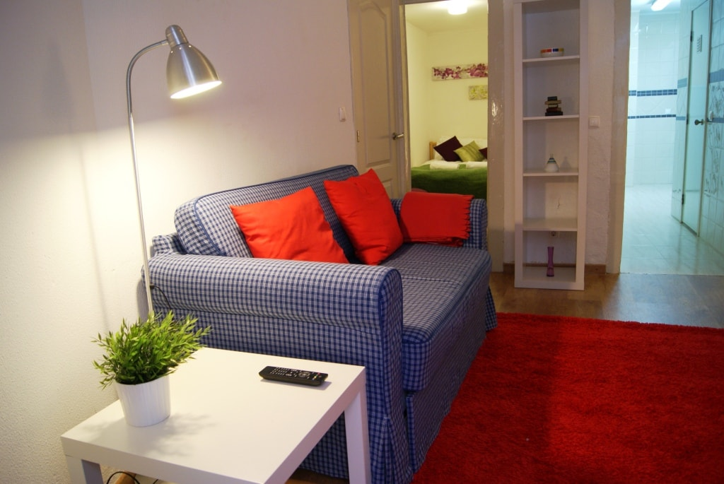 Living room with comfortable bed sofa for 2