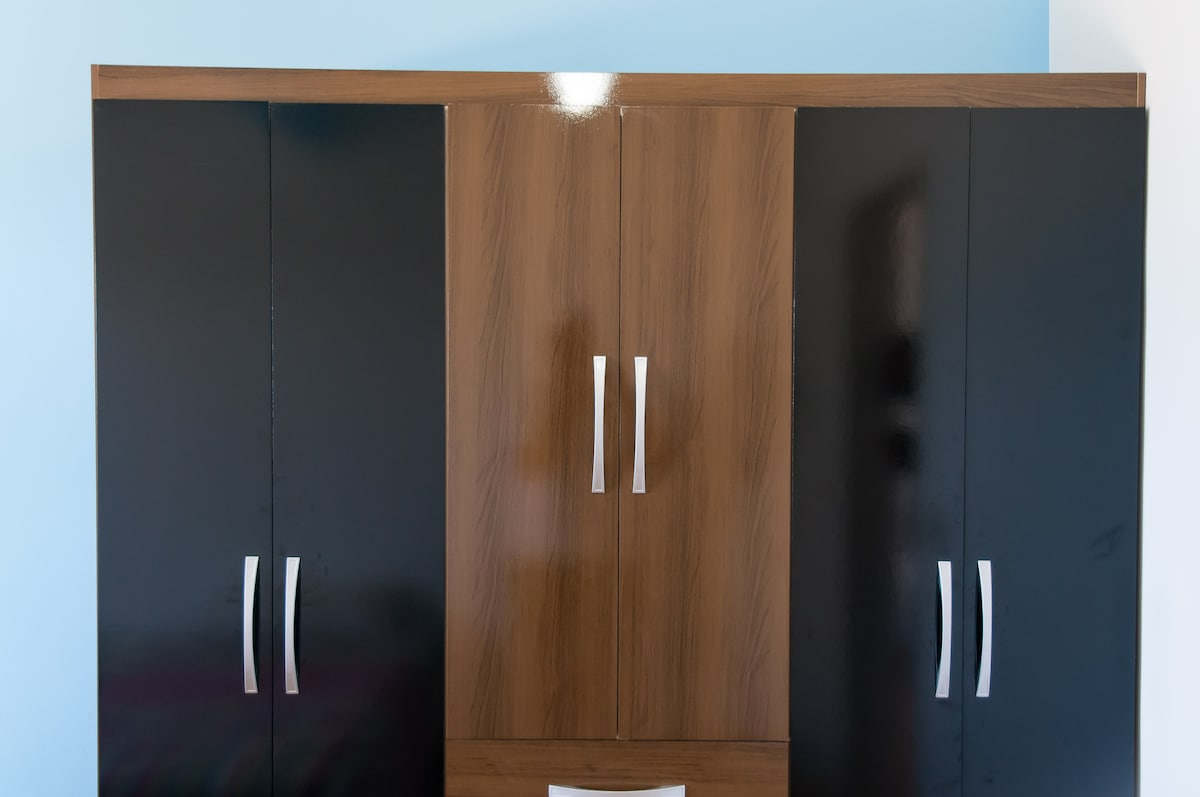 The bedroom has a wardrobe for you to store your things.