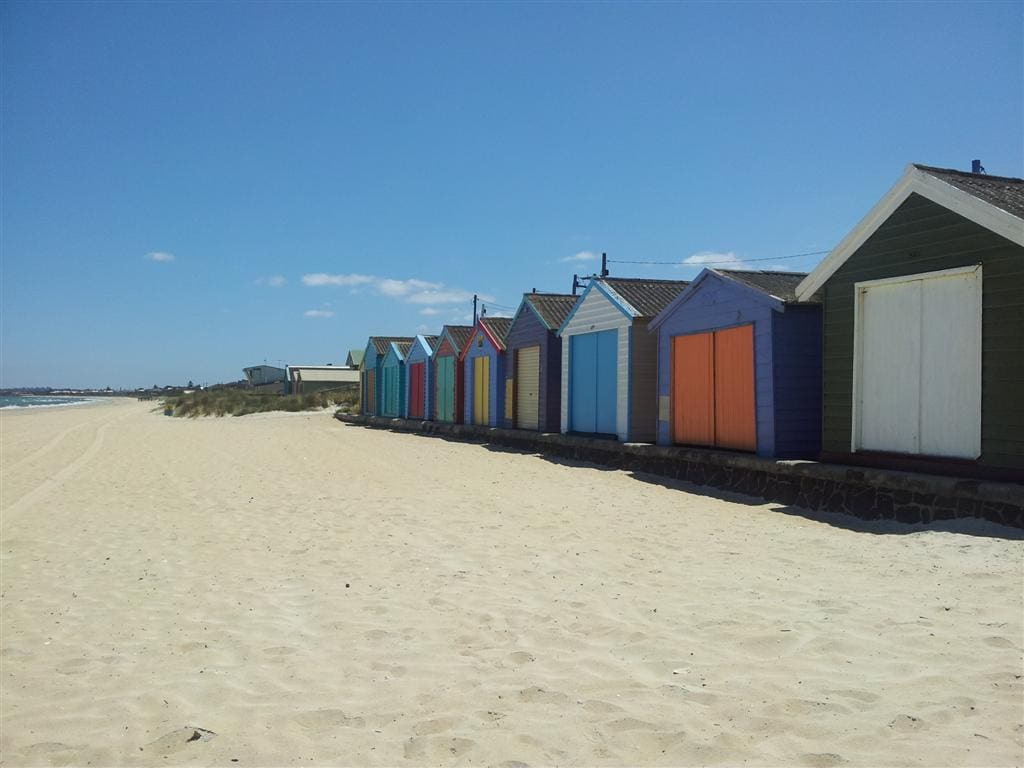 The iconic Australian 'beach boxes' make for great holiday snaps.