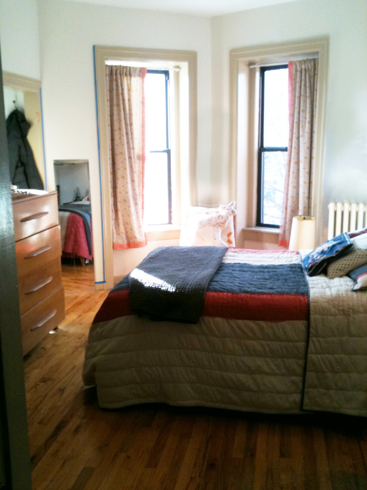 Bedroom has a HUGE walk-in closet and full bed, super comfortable with high-end bedding