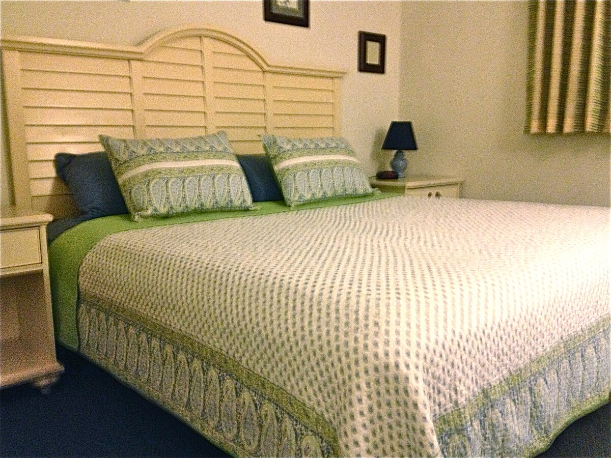 Sometimes the king bed looks like this. The NEW bamboo & gel infused memory foam is always perfect no matter which quilt we use!