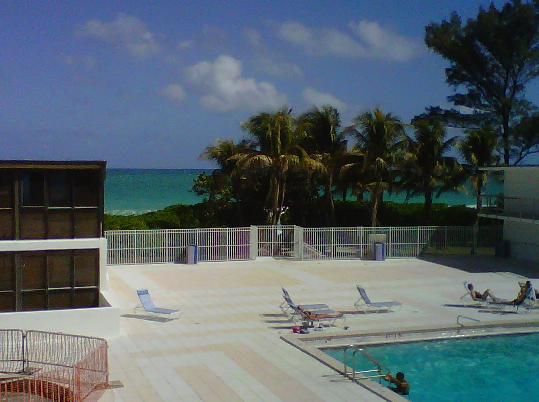 View from your balcony. The beach and pool are at your door step
