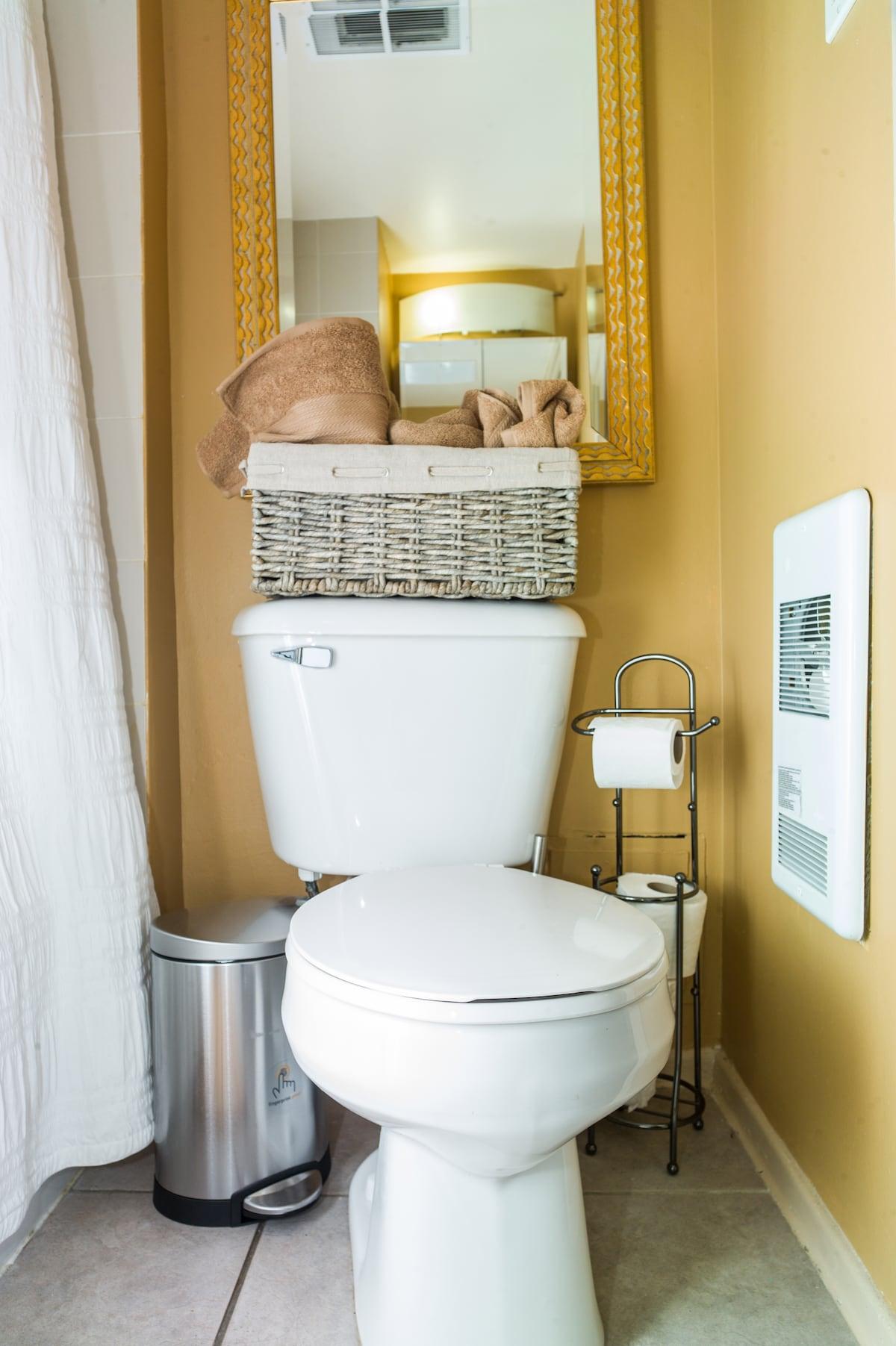 Bathroom, sink, toilet, great shower. Feel good, look good!