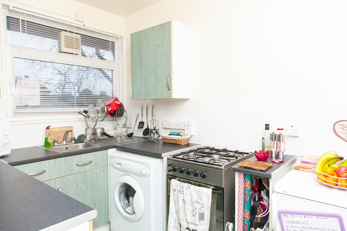 The Kitchen. Fully equipped with cooker, fridge, washing machine, microwave, toaster, kettle, plates, cutlery, glasses etc... you get the gist!