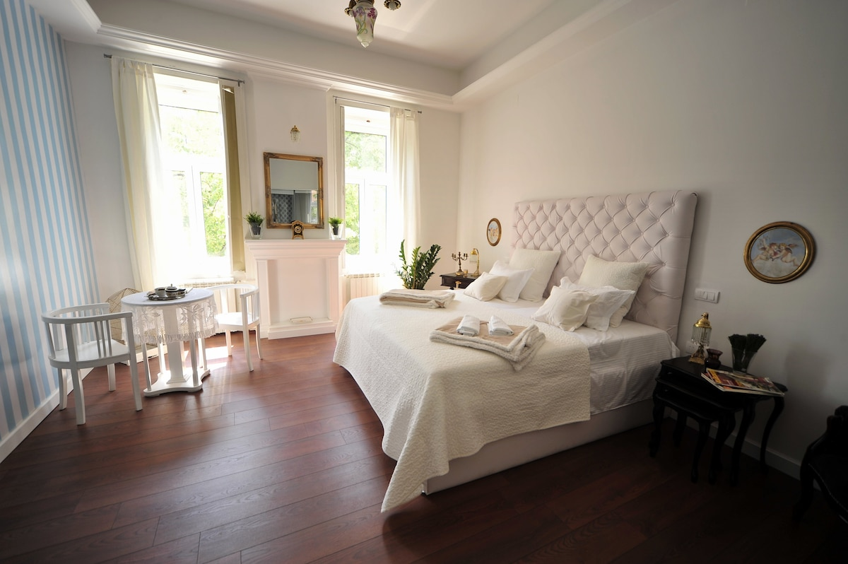 Big, bright bedroom with great street view.