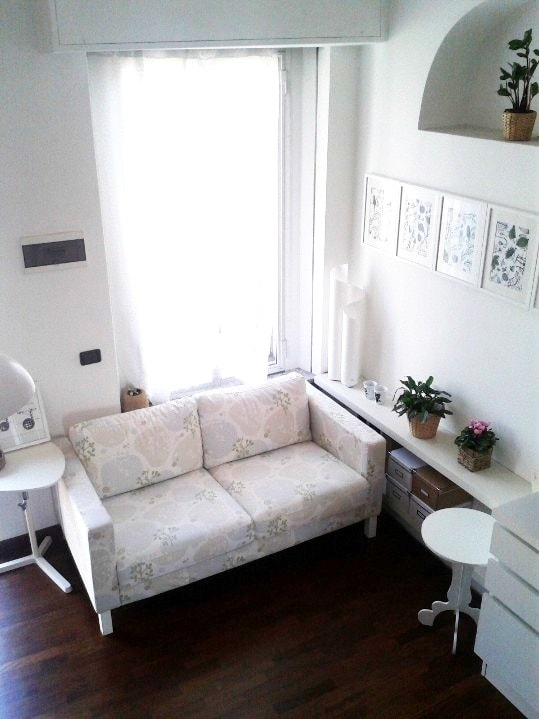 Living room. View from the stairs. *** myhomeinMilan, Milan, Italy