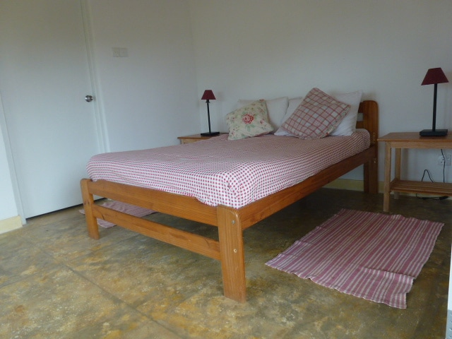 Cool garden chalets with Double bed.