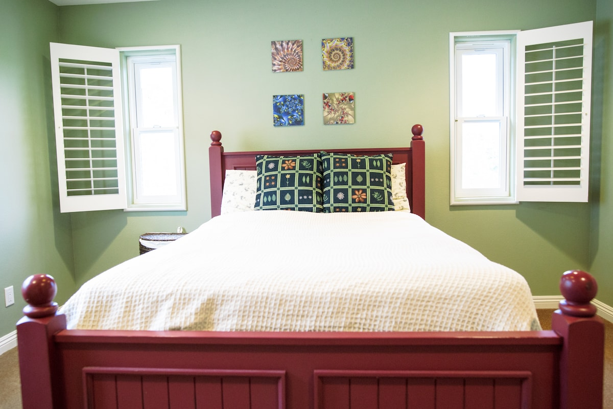 Private bedroom with adjacent bath is clean, relaxing and spacious.