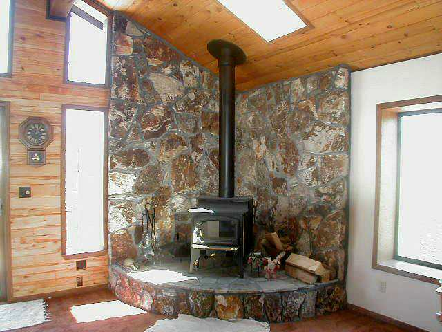 Wood stove and lots of light