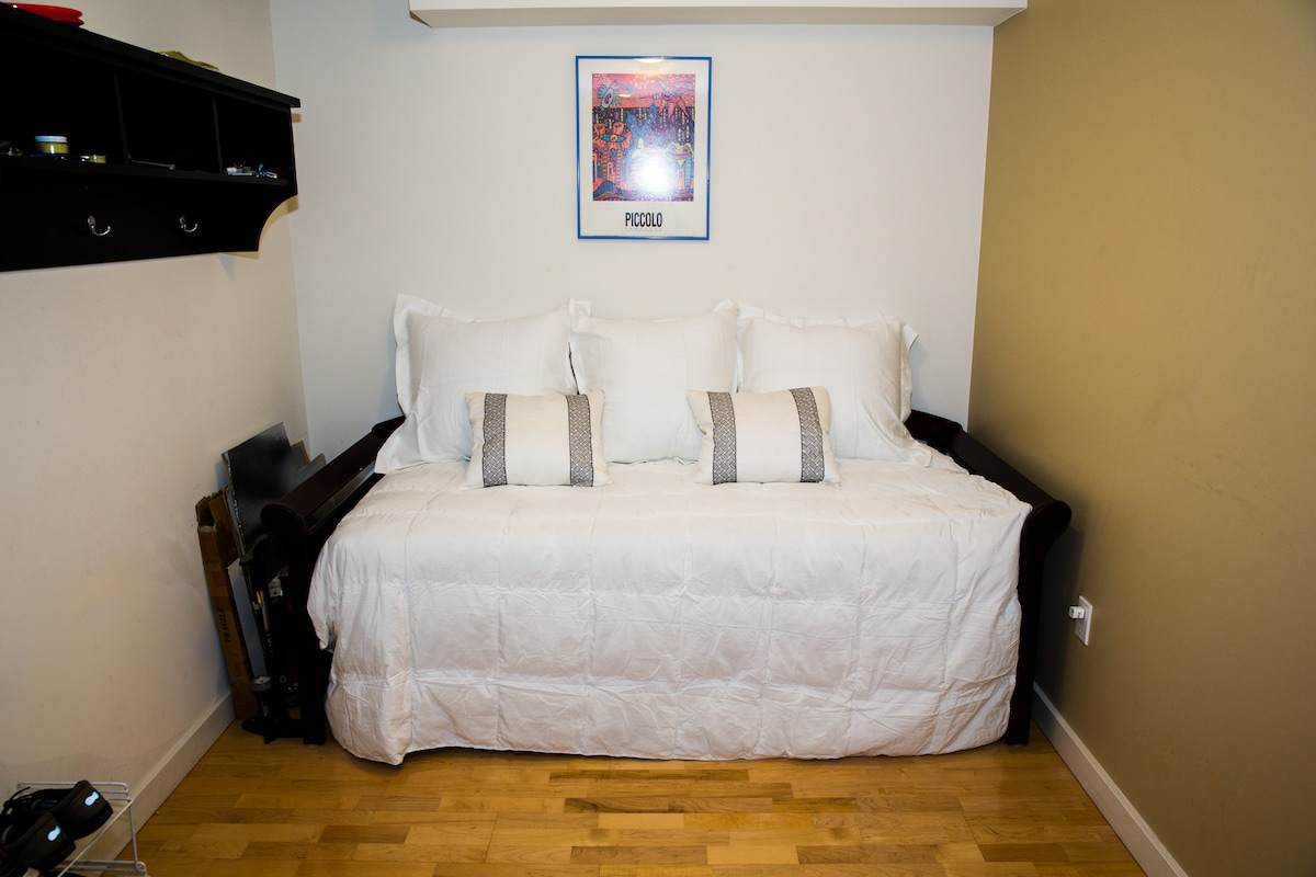 Your Bedroom with fresh new sheets and covers.  There are 2 twin matresses.