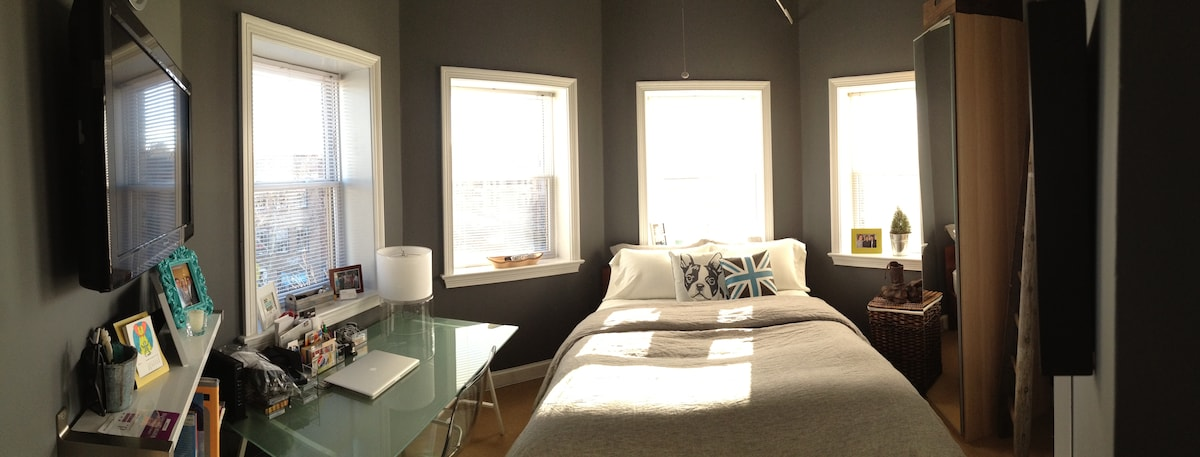 Expanded bedroom view from January 2013, highlighting new linens and paint. (Excuse the crappy iPhone photo)