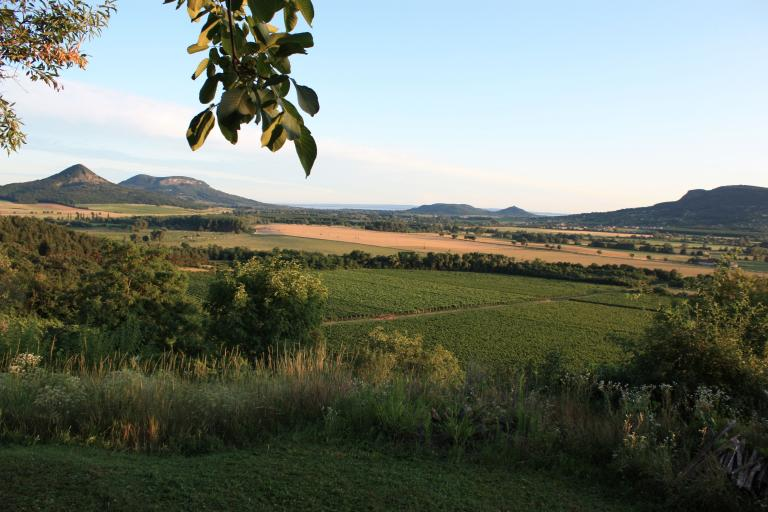 View from the terrace down into the valley of vulcanos and the Balaton lake on the horizon.