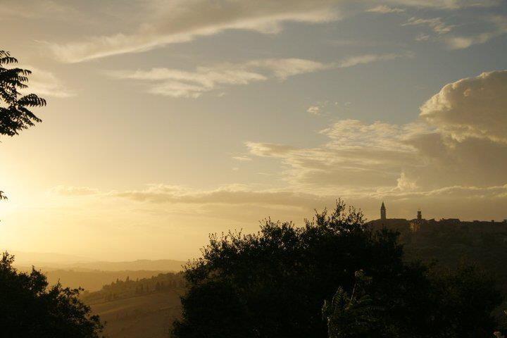 Vista di Pienza e della Val D'Orcia dalla corte interna    Landscape from the courthyard