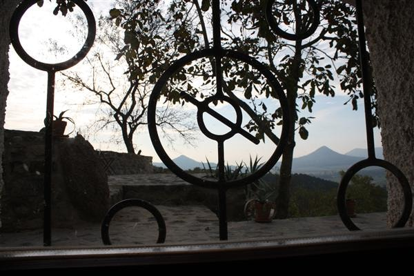 View out of the kitchen on the vulcanos Toti and Gulac while cooking...