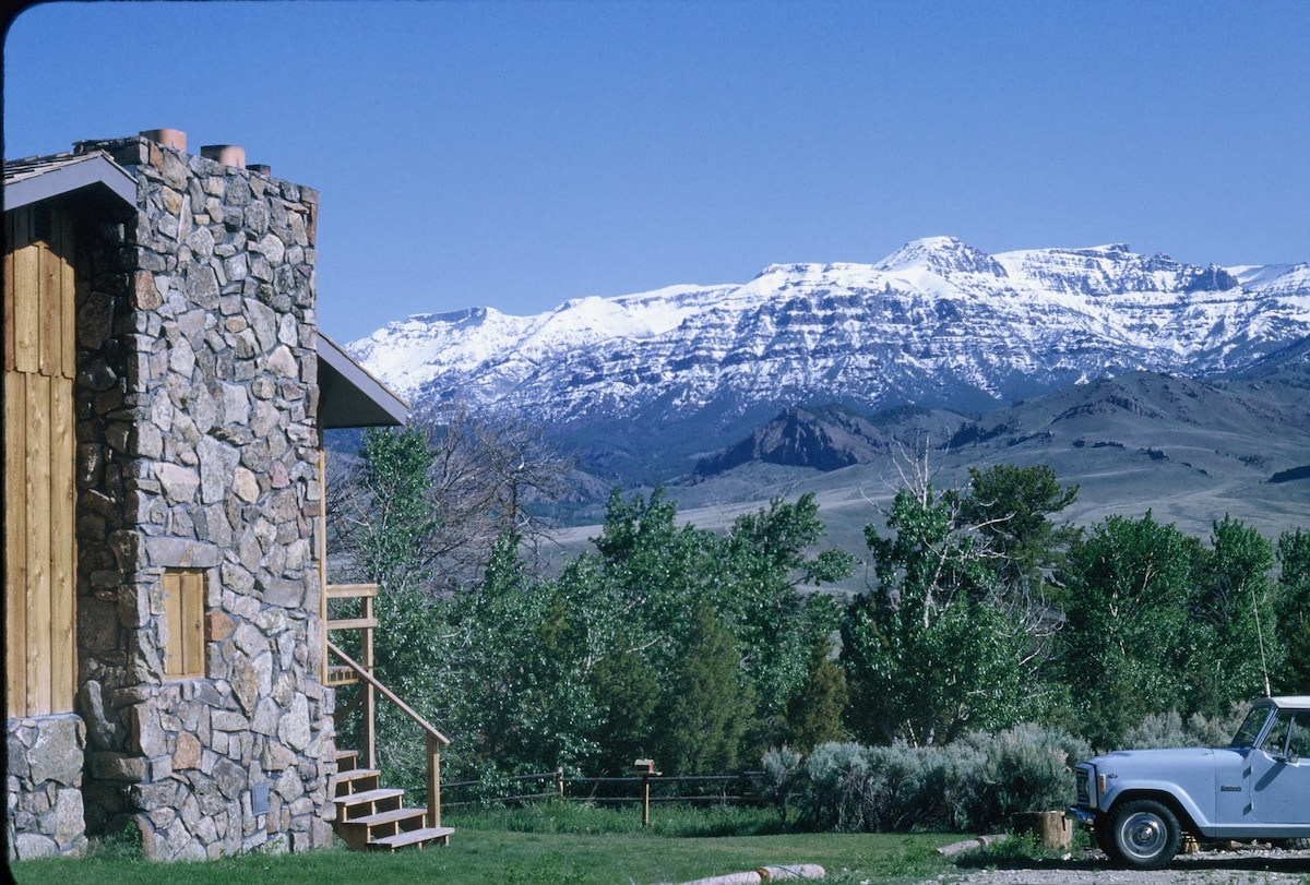 Early spring view of Wapiti Valley and Absaroka Mountains from Yellowstone Country Suite