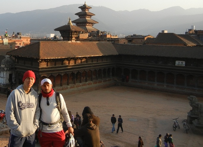 Alvin (from Seattle) with host Suraj at Bhaktapur - Another world heritage site 30 minutes bicycle ride from home