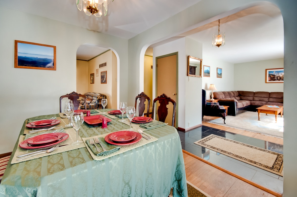 Dining room and living room with open floor plan