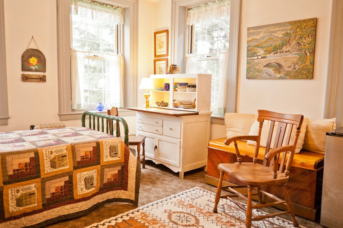 Guest room with desk, bed, refrigerator and microwave and kitchen sink...and room to do yoga!