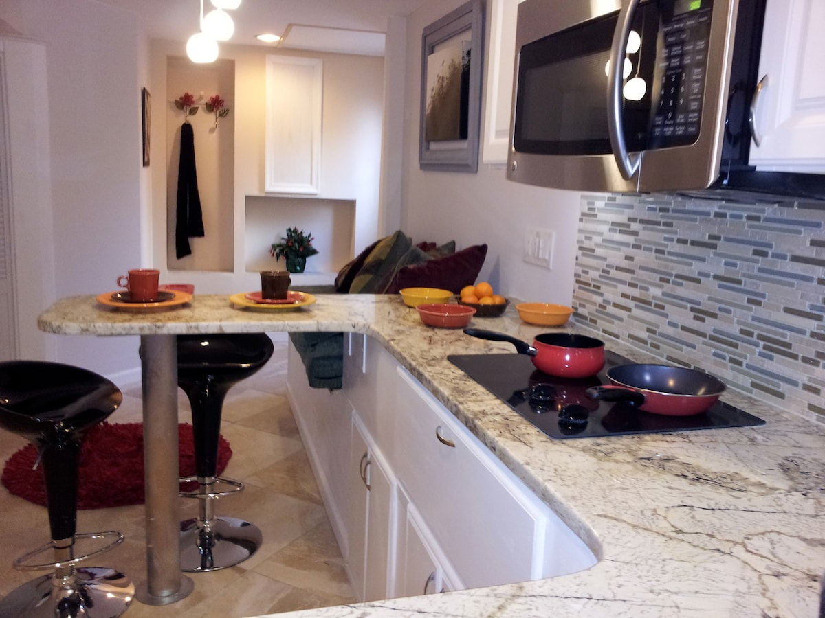 Kitchen granite counter, looking towards the entrance.