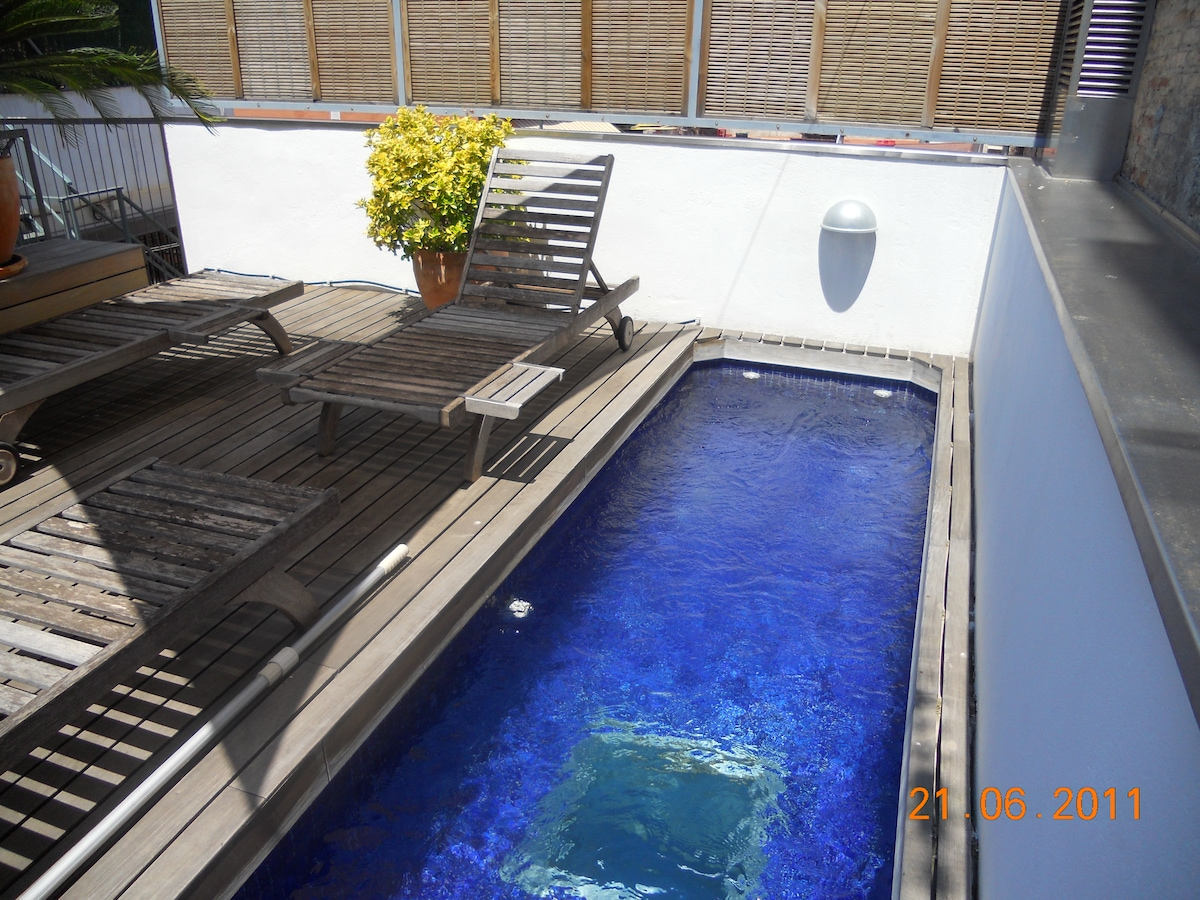 Private pool on 40 square meter sundeck - 5 meter long, 1,2 meter width and 1,2 meter deep