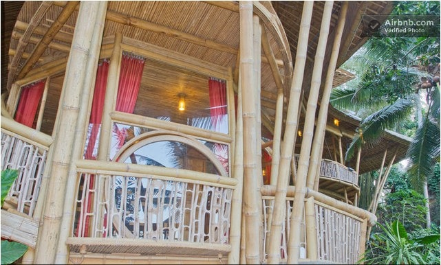 Come and stay in a unique luxury 4 storey family house retreat made entirely of bamboo, set on the edge of a stunning river valley!