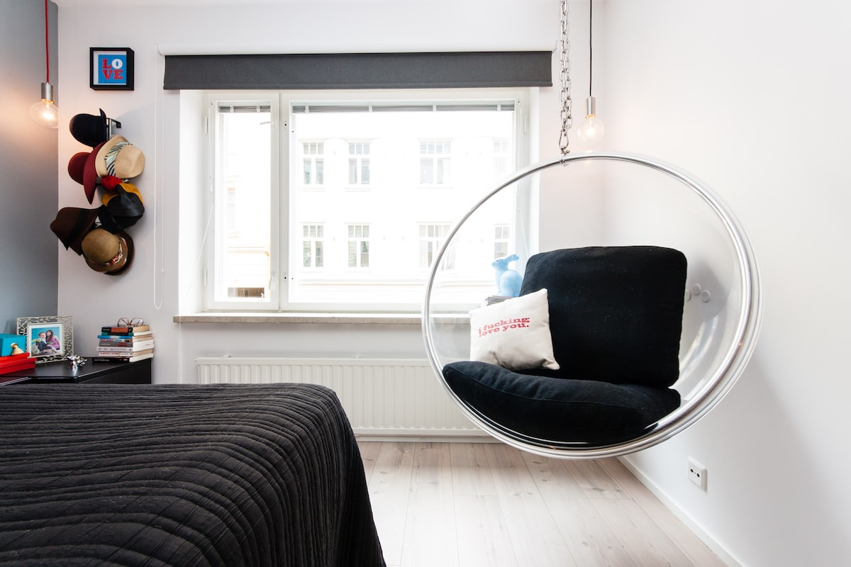 Chill-out or read book in noise cancellation bubble chair after sightseeing in Helsinki.