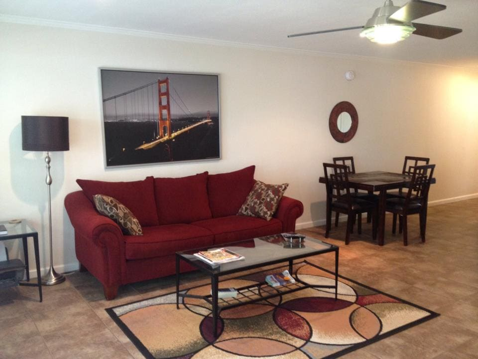 Nice open Living room with sleeper sofa.