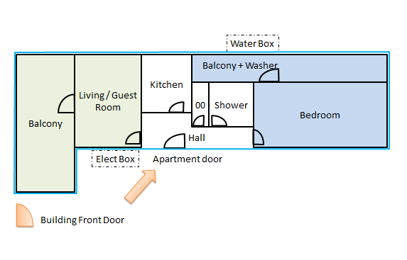"1st Floor, with a ramp entry, the Bedroom is used by me when you rent the ""Rooms"""