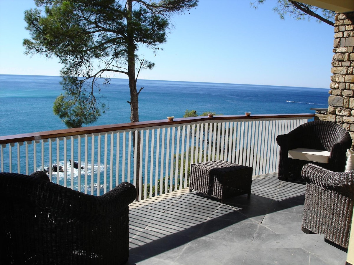 One of the terrace of the house overlooking the sea