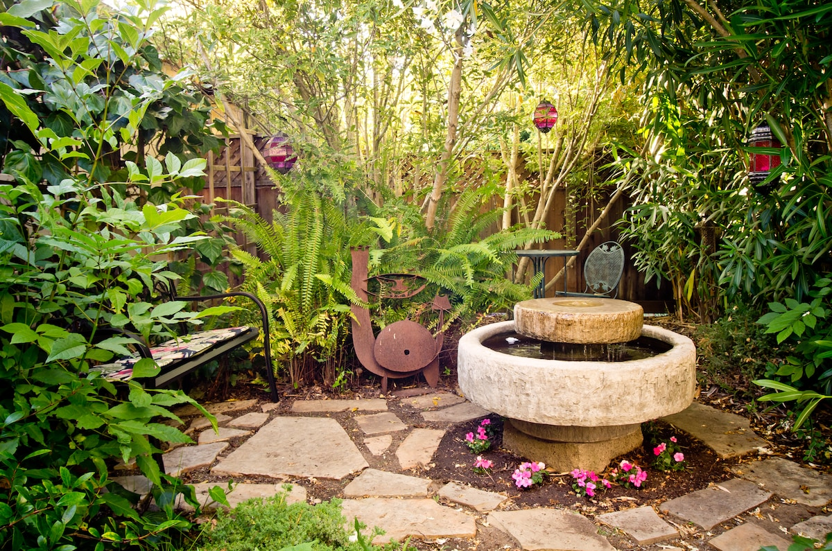 Meditation Garden with fountain, bench and bistro table