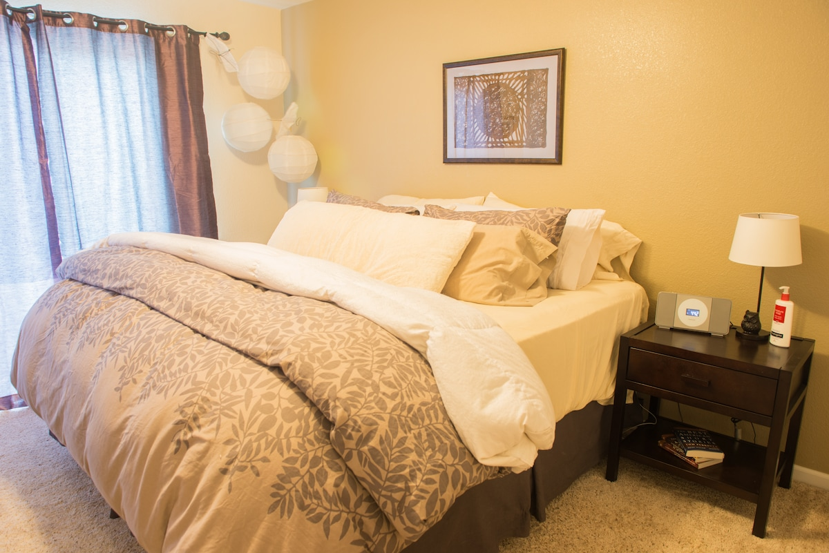 Your private Master Bedroom with king size bed, walk-in closet, and private balcony.