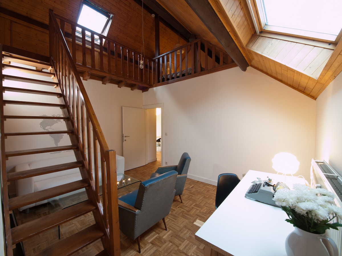 Your own living room & desk space and view on the mezzanine.
