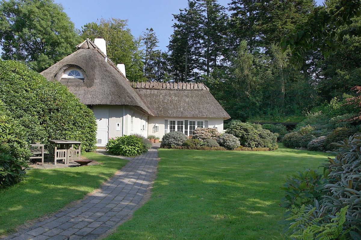 Idyllic thatched house lakeshore