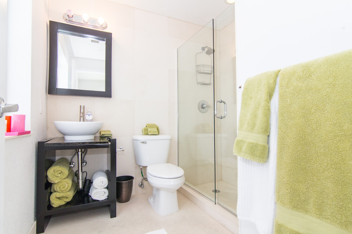 Nice clean bathroom with glass shower