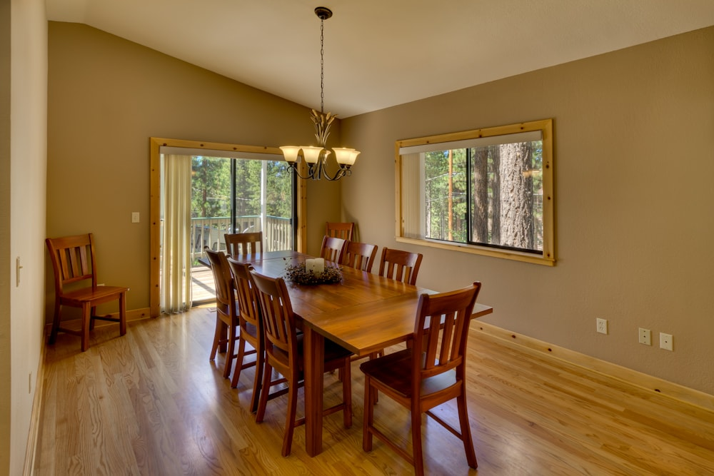 Large dining table with seating for 10