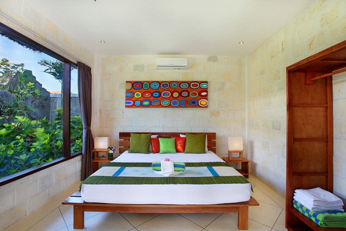 Our cottage rooms are spacious with private outdoor lounge areas.