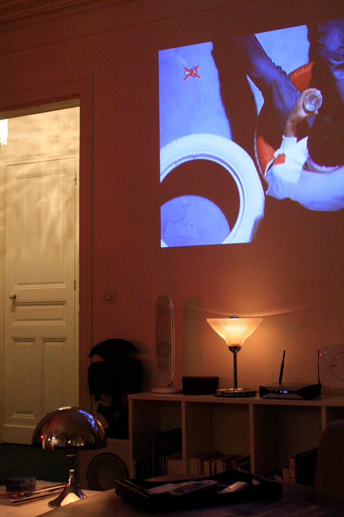 Giant Home cinema projected on the wall