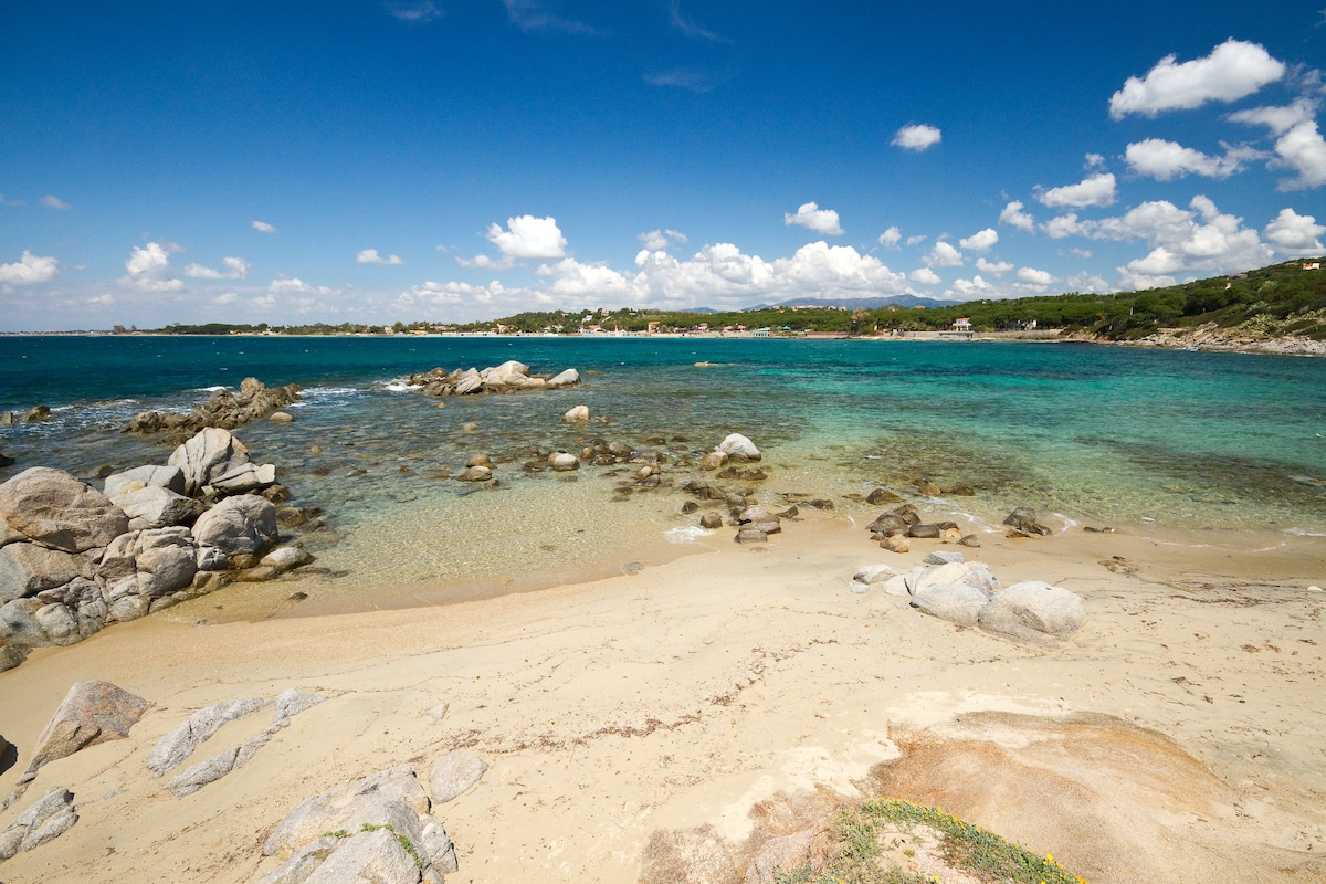 Is Mortorius, the walkable beach in front of the villa