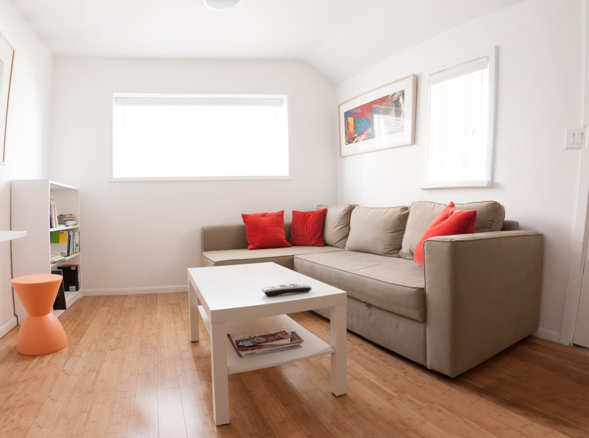 Living room with fold out sofabed